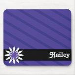 Purple and white flower monogram mousepad