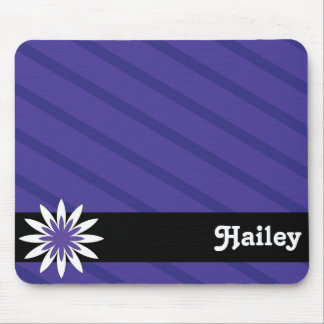 Purple and white flower monogram mousepad