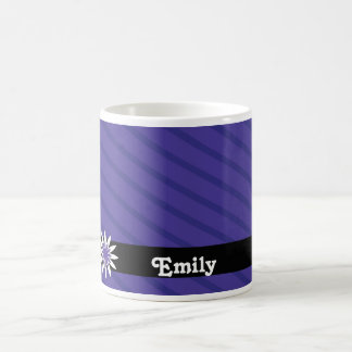 Purple and white flower monogram mug