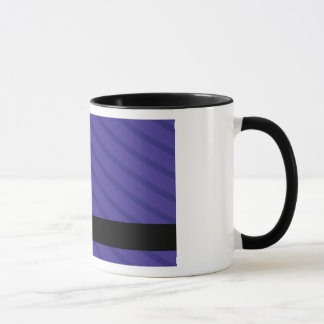 Purple and white flower stripes mug