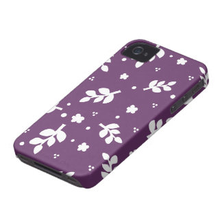 Purple and White Flowers and leaves silhouette iPhone 4 Case-Mate Case