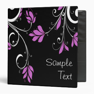 Purple and White Flowers 3 Ring Binder