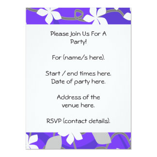 Purple and White Flowers. Floral Pattern. 6.5x8.75 Paper Invitation Card