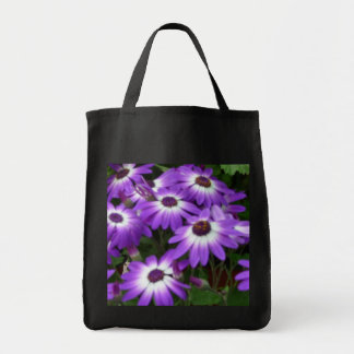 Purple and White Flowers Grocery Tote