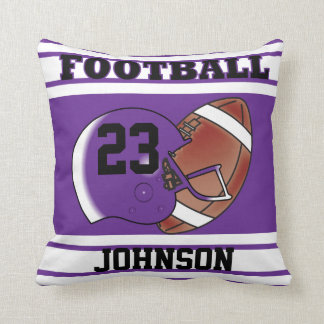 Purple and White Football   DIY Name & Number Throw Pillow