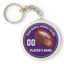 Purple and White Football Keychains, 4 Text Boxes Keychain
