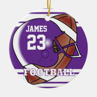 Purple and White Football Double-Sided Ceramic Round Christmas Ornament