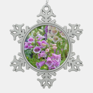 Purple and white foxglove christmas orname snowflake pewter christmas ornament