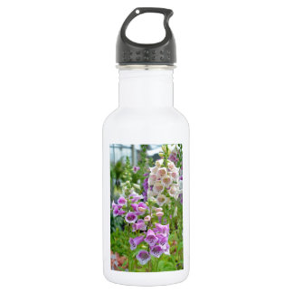 Purple and white foxglove flowers water bottle