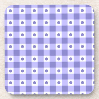 Purple And White Gingham Check Dots Pattern Beverage Coaster