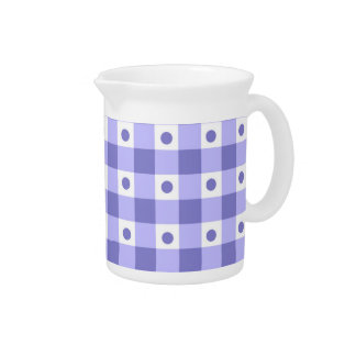 Purple And White Gingham Check Dots Pattern Drink Pitchers