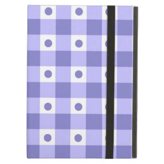 Purple And White Gingham Check Dots Pattern iPad Air Cover