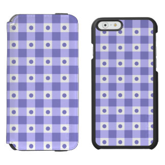 Purple And White Gingham Check Dots Pattern iPhone 6/6s Wallet Case