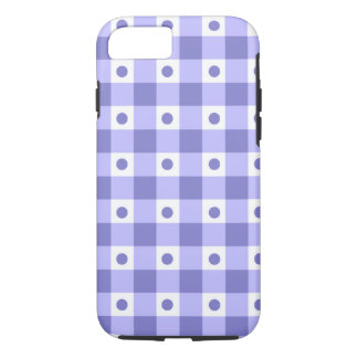 Purple And White Gingham Check Dots Pattern iPhone 7 Case