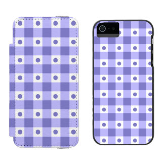 Purple And White Gingham Check Dots Pattern iPhone SE/5/5s Wallet Case