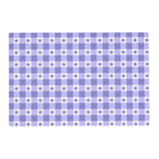 Purple And White Gingham Check Dots Pattern Placemat