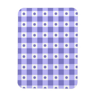 Purple And White Gingham Check Dots Pattern Rectangular Photo Magnet