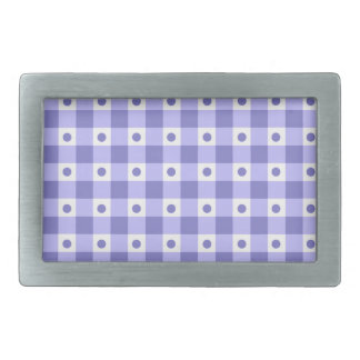 Purple And White Gingham Check Dots Pattern Rectangular Belt Buckle