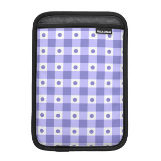 Purple And White Gingham Check Dots Pattern Sleeve For iPad Mini