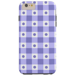 Purple And White Gingham Check Dots Pattern Tough iPhone 6 Plus Case