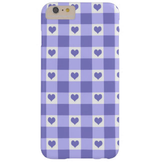 Purple And White Gingham Check Hearts Pattern Barely There iPhone 6 Plus Case