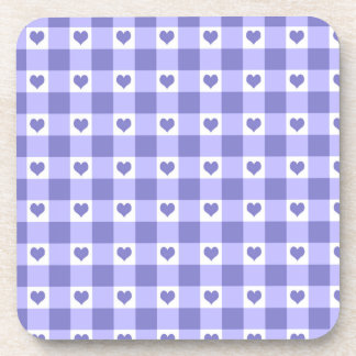 Purple And White Gingham Check Hearts Pattern Beverage Coaster