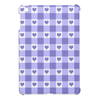 Purple And White Gingham Check Hearts Pattern Case For The iPad Mini