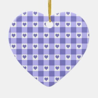 Purple And White Gingham Check Hearts Pattern Ceramic Ornament