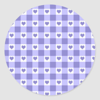 Purple And White Gingham Check Hearts Pattern Classic Round Sticker