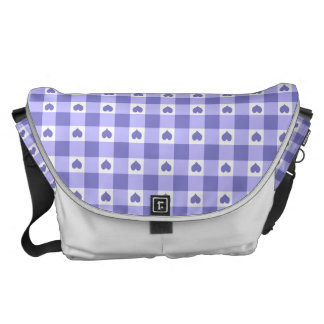 Purple And White Gingham Check Hearts Pattern Courier Bag