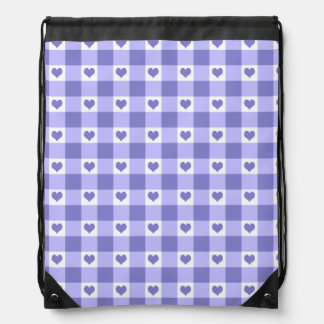 Purple And White Gingham Check Hearts Pattern Drawstring Backpack