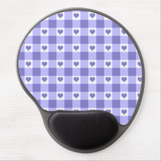 Purple And White Gingham Check Hearts Pattern Gel Mouse Pad