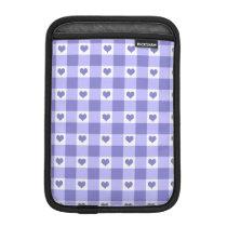 Purple And White Gingham Check Hearts Pattern iPad Mini Sleeve