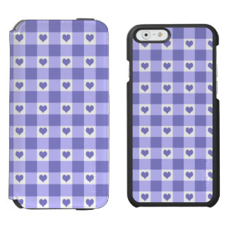 Purple And White Gingham Check Hearts Pattern iPhone 6/6s Wallet Case