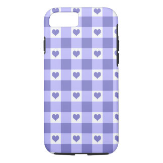 Purple And White Gingham Check Hearts Pattern iPhone 7 Case