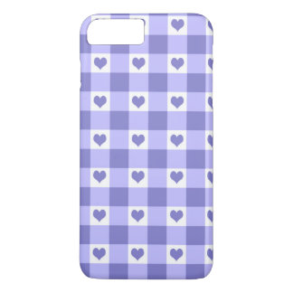 Purple And White Gingham Check Hearts Pattern iPhone 7 Plus Case