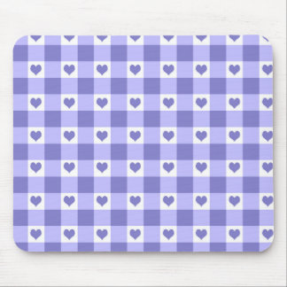 Purple And White Gingham Check Hearts Pattern Mouse Pad