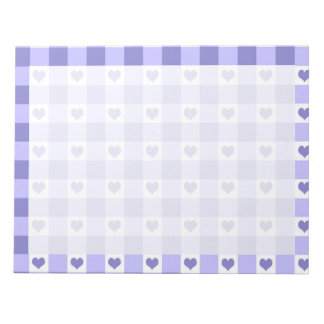 Purple And White Gingham Check Hearts Pattern Note Pad