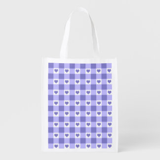 Purple And White Gingham Check Hearts Pattern Reusable Grocery Bags