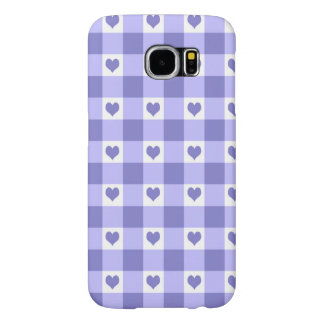 Purple And White Gingham Check Hearts Pattern Samsung Galaxy S6 Case