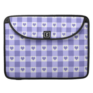 Purple And White Gingham Check Hearts Pattern Sleeve For MacBook Pro