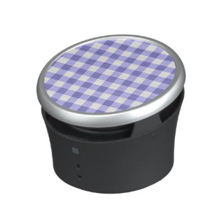 Purple And White Gingham Check Pattern Bluetooth Speaker