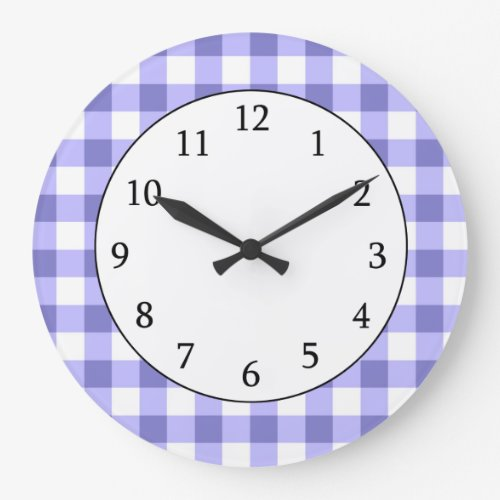 Purple And White Gingham Check Pattern Clock