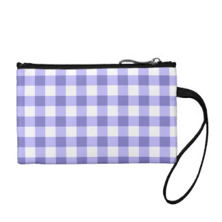 Purple And White Gingham Check Pattern Coin Purse