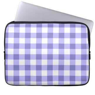 Purple And White Gingham Check Pattern Computer Sleeve