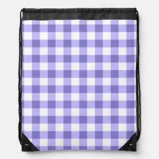 Purple And White Gingham Check Pattern Drawstring Bag