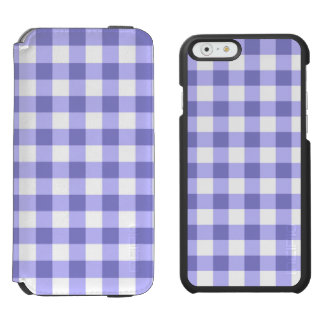 Purple And White Gingham Check Pattern iPhone 6/6s Wallet Case