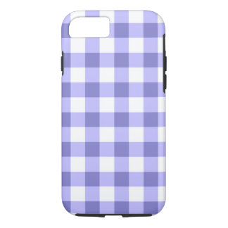 Purple And White Gingham Check Pattern iPhone 7 Case