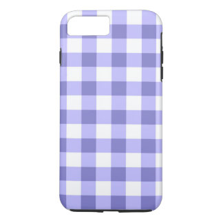 Purple And White Gingham Check Pattern iPhone 7 Plus Case