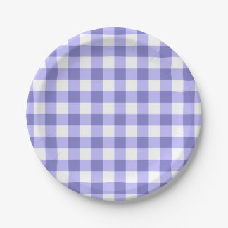 Purple And White Gingham Check Pattern Paper Plate